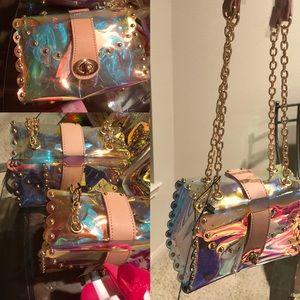 Handbag transparent with gold chain
